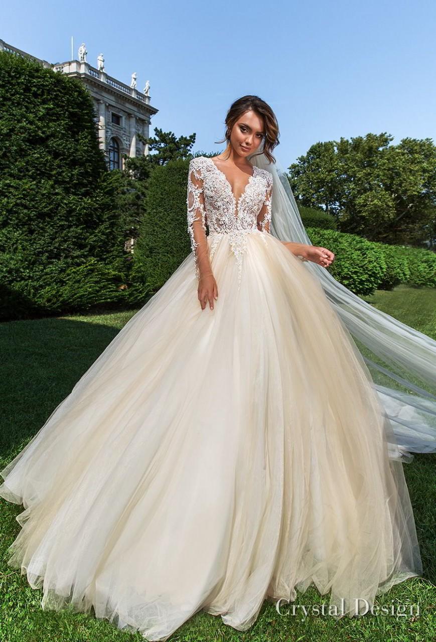 crystal design 2018 long sleeves v neck heavily embellished bodice romantic ivory ball gown wedding dress sheer button back long train (belle) mv