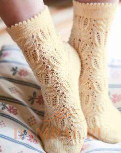 ажурные носки спицами видео