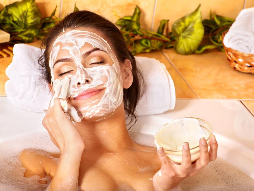 Natural homemade facial masks at home .