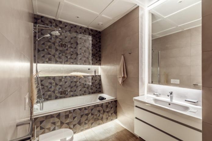 ниша с подсветкой в интерьере ванной