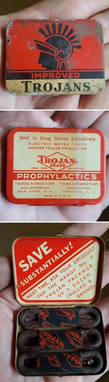 18. Упаковка презервативов 60-летней давности, найдена в подвале дома Неожиданная находка, интересные вещи, интересные находки, находки, находки и открытия, не ждали, случайно