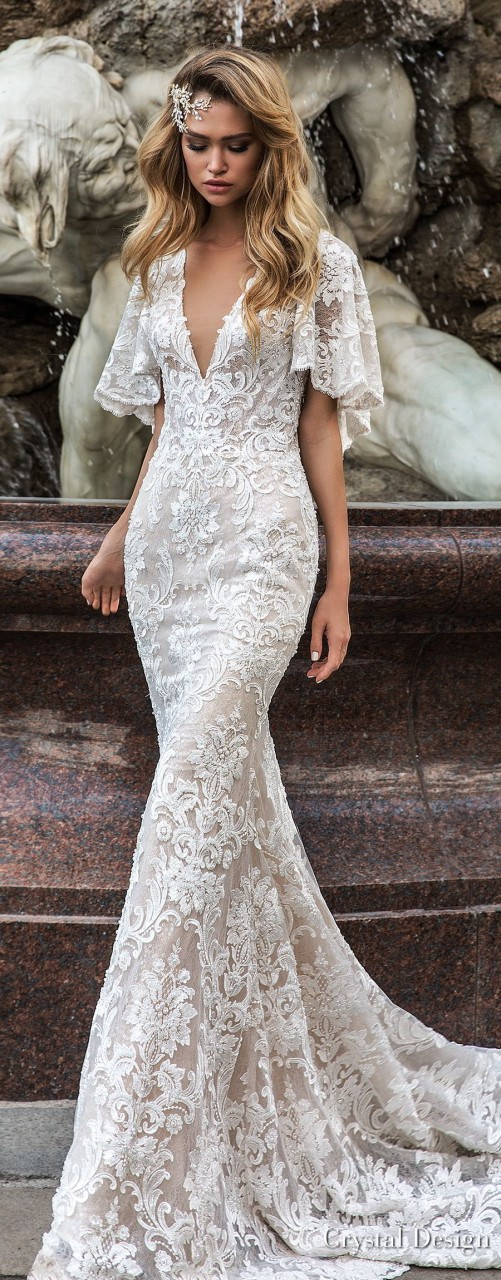 crystal design 2018 half handkerchief sleeves v neck full embellishment elegant fit and flare wedding dress covered lace back medium train (indira) mv lv