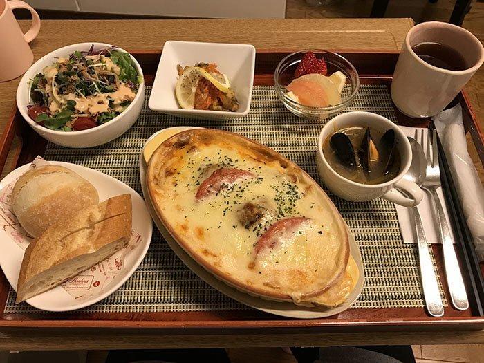 Гратен из пасты на ужин блюдо, еда, пища, родильный дом, роженица, фото, япония