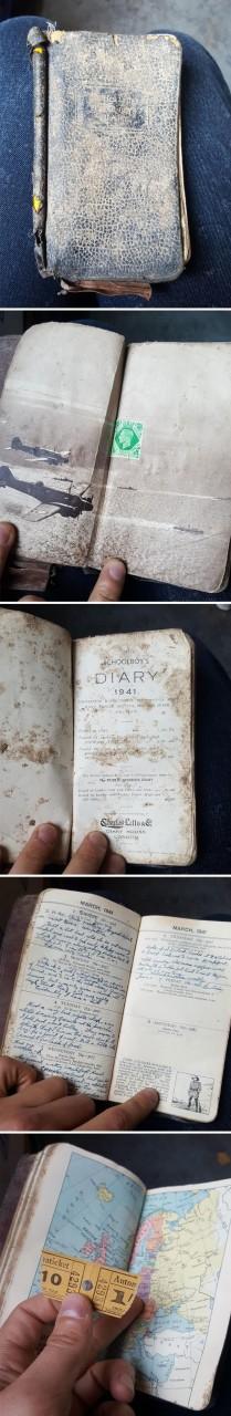 4. Заполненный дневник школьника, 1941 год, найден сотрудником компании по утилизации отходов Неожиданная находка, интересные вещи, интересные находки, находки, находки и открытия, не ждали, случайно