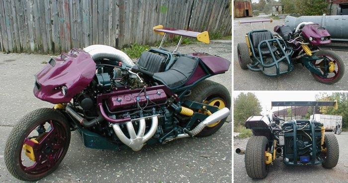 Мотоцикл с двигателем от ГАЗ-53 собрали в российской глубинке
