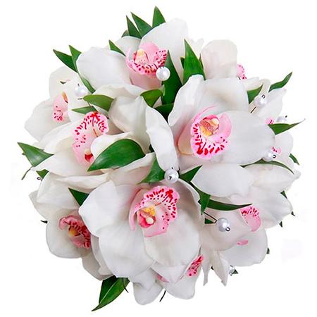 Букет из белых орхидей на 14 февраля (День всех влюбленных) - символизирует чистую любовь