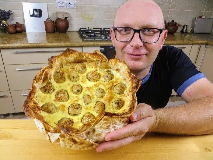 Чудо пирог из лаваша с капустой и фаршем выпечка