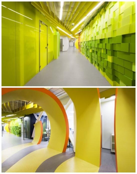 Яркие коридоры офиса для интернет-компании «Яндекс» в Санкт-Петербурге (Россия).