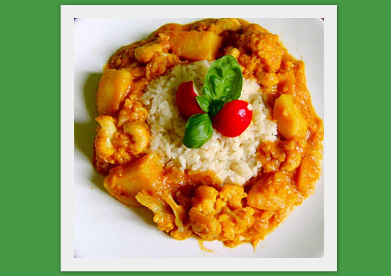 Картошка с  цветной капустой по индийски. Фото-рецепт. Olga Dell