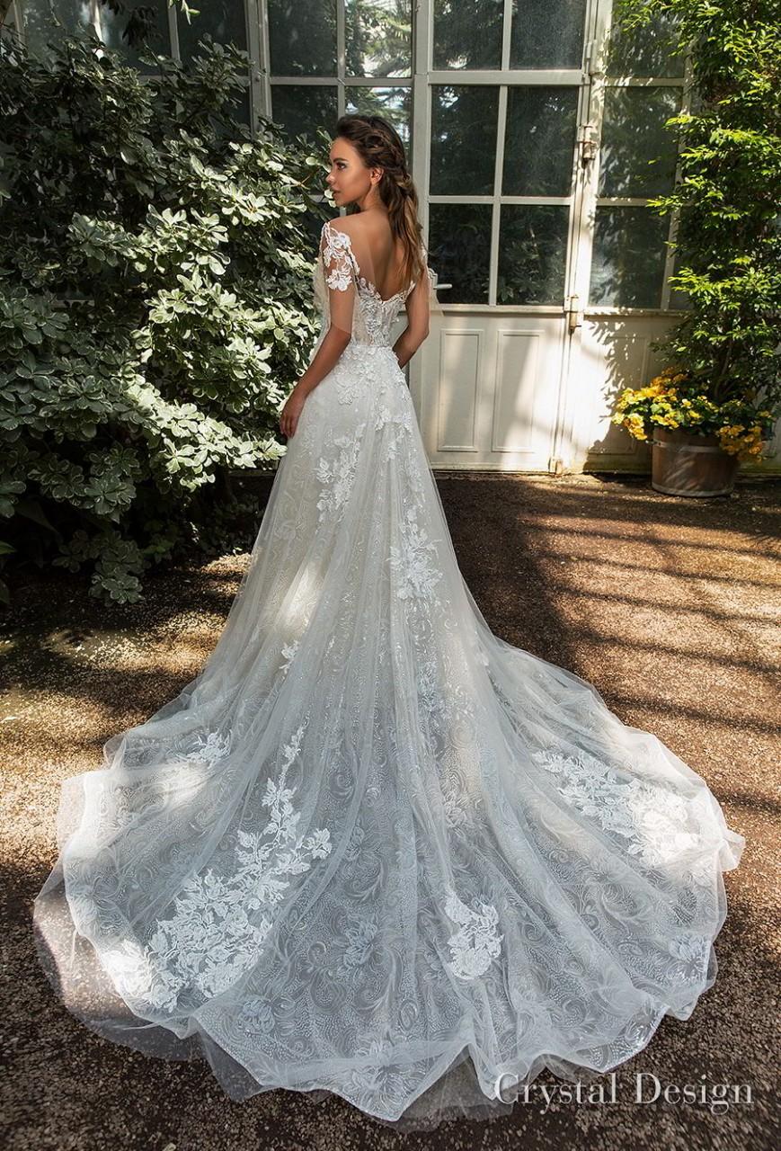 crystal design 2018 short handkerchief sleeves sweetheart neckline heavily embellished bodice romantic a line wedding dress scoop back chapel train (diem) bv