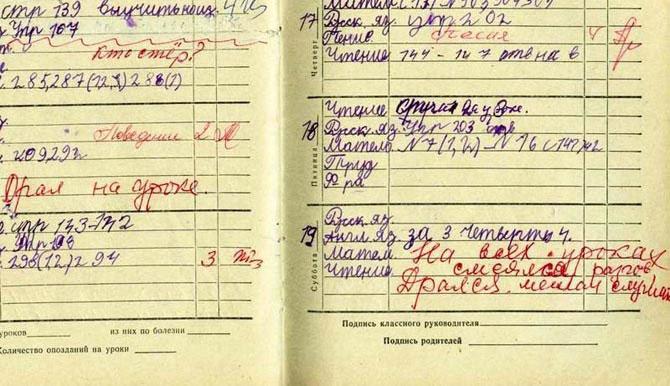 Вспоминая школьный дневник