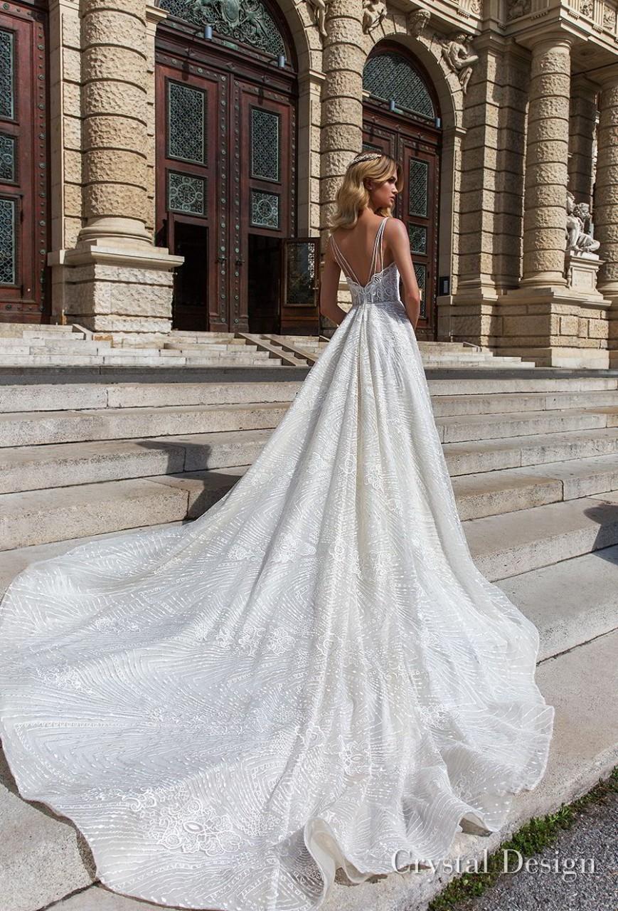 crystal design 2018 sleeveless spaghetti strap sweetheart neckline full embellishment romantic a line wedding dress open v back royal train (sofie) bv