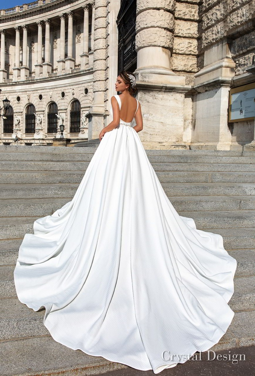 crystal design 2018 sleeveless deep v neck simple princess elegant ball gown a line wedding dress open scoop back royal train (ivanna) bv