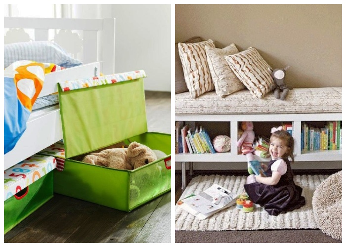 Коробки и полки под кроватью удобно использовать для хранения детских игрушек. | Фото: domfront.ru.