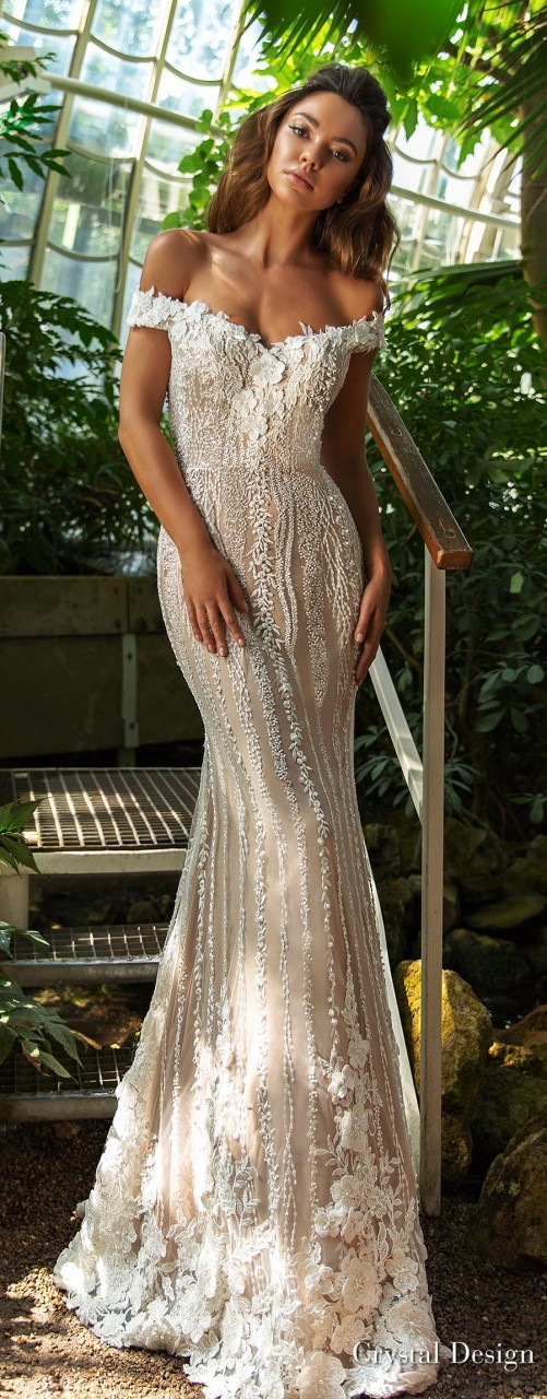 crystal design 2018 off the shoulder sweetheart neckline full embellishment elegant romantic fit and flare wedding dress chapel train (claudia) mv