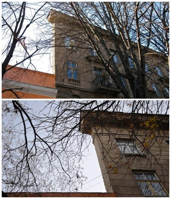 Дом-стена в Одессе, построенный в 1937 году архитекторами Минкусом и Шаповаленко (Украина).