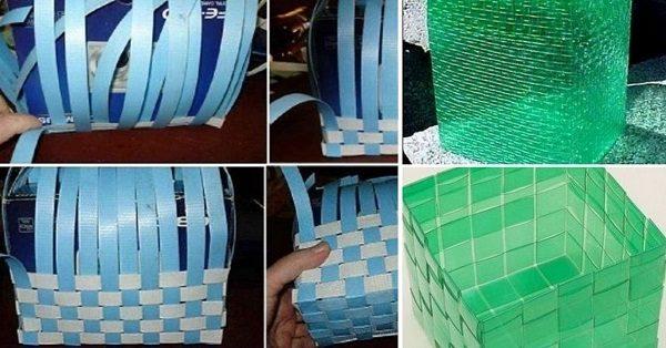 Оригинальная и практичная корзина из пластиковых бутылок для ванной, кухни или сада
