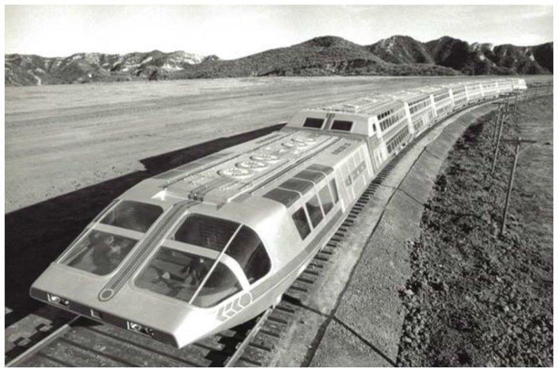 Атомный суперпоезд, 1979 (прототип) вагоны, железнодорожные, изобретения, поезда, рельсы, факты, фантазии