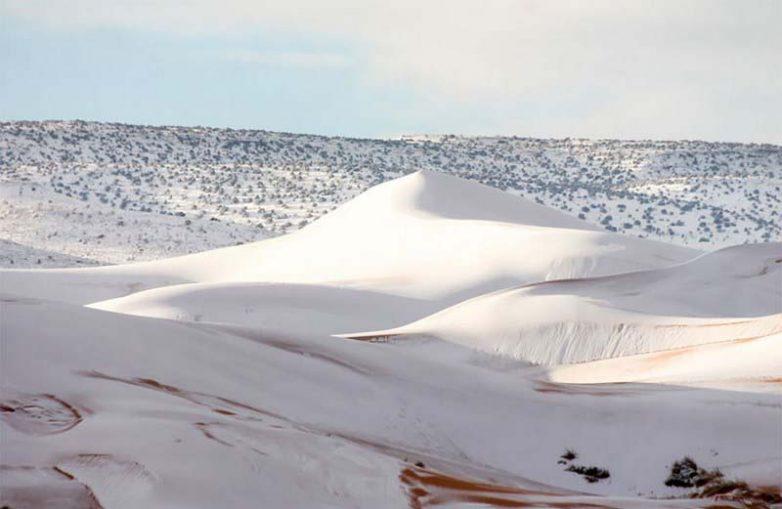 В пустыне Сахара выпал снег. Невероятное зрелище!