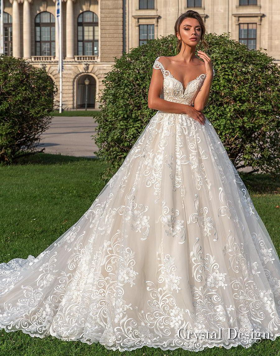 crystal design 2018 cap sleeves sweetheart neckline full embellishment romantic princess ball gown wedding dress sheer button back chapel train (steffani) mv
