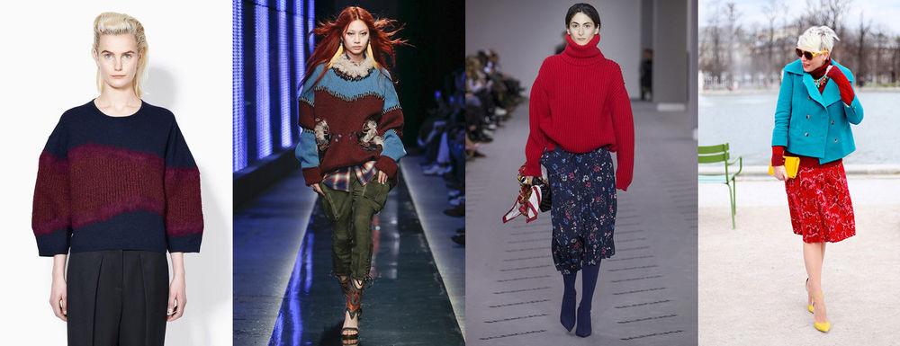 с чем носить бордовый свитер