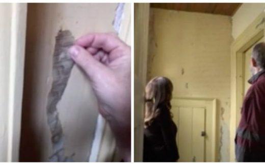 Эта женщина делала в квартире ремонт. На стене под обоями её ждало послание 50-летней давности