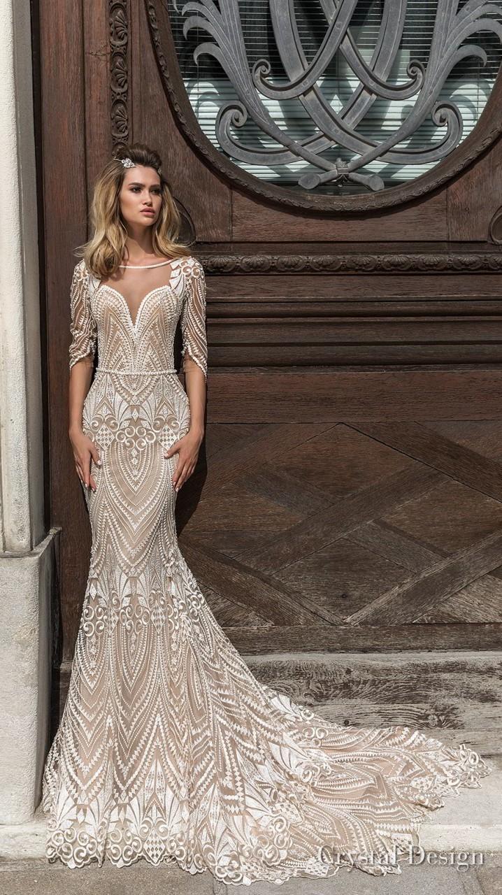 crystal design 2018 half sleeves illusion bateau sweetheart neckline full embellishment elegant fit and flare wedding dress scoop back chapel train (valery) mv