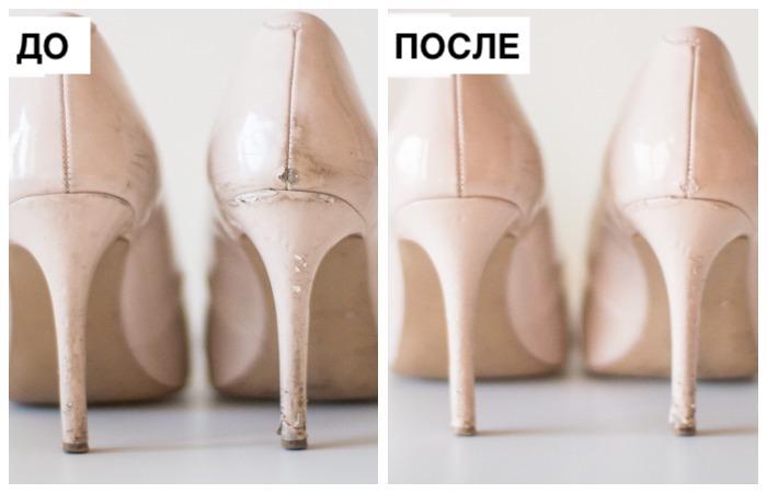 Как освежить старые лаковые туфли