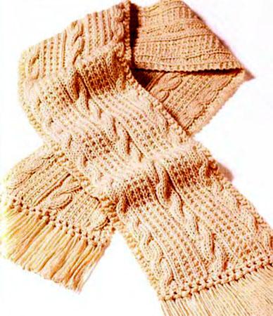 вязаные мужские шарфы спицами