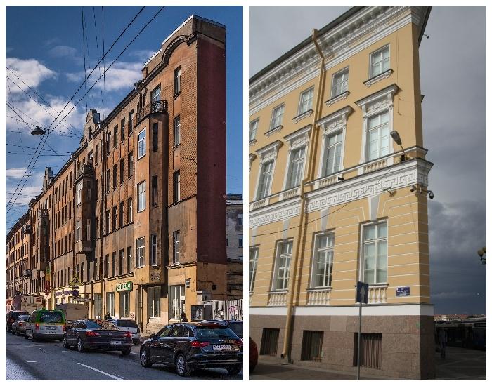 Плоские дома Санкт-Петербурга (на набережной Мойки и Боровой улице, Россия).
