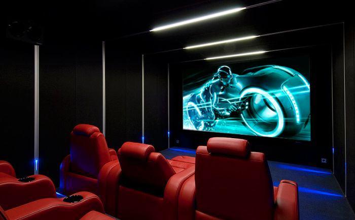 Домашний кинотеатр в цветах: черный, серый, сине-зеленый, темно-коричневый, коричневый. Домашний кинотеатр в стилях: минимализм, хай-тек.