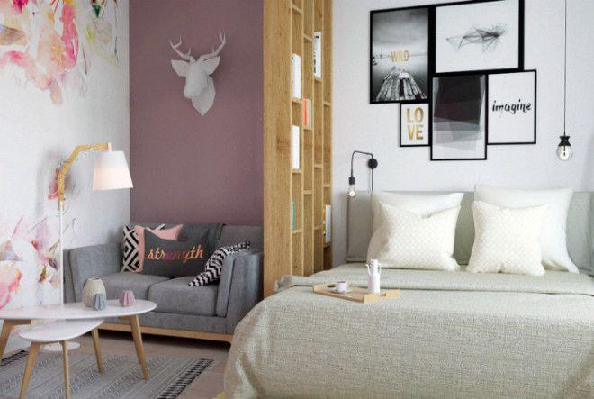 Светлая зона гостиной в однокомнатной квартире