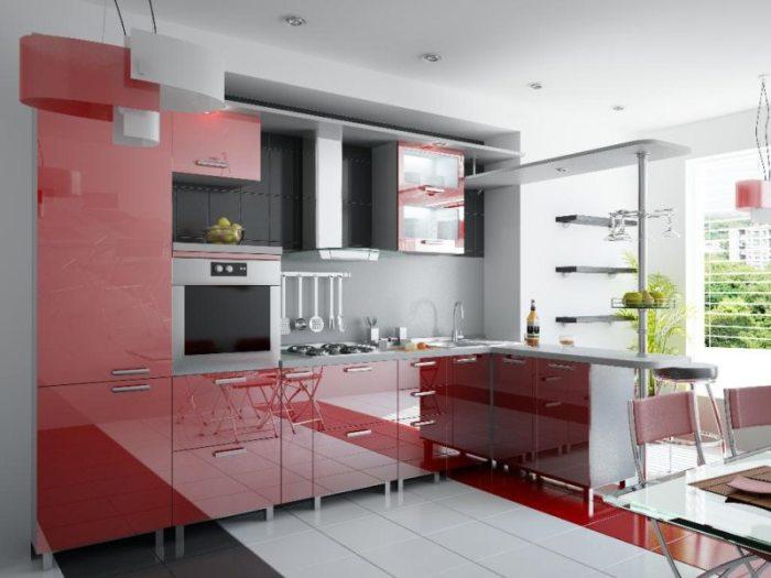 Современный дизайн кухни в стиле модерн.