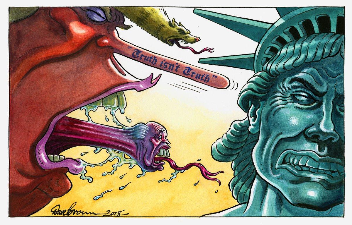 Дональд Трамп в западной карикатуре. Август 2018