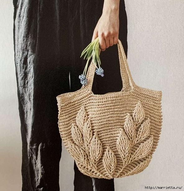 Вязание сумки рельефным узором с листьями (2) (591x614, 264Kb)