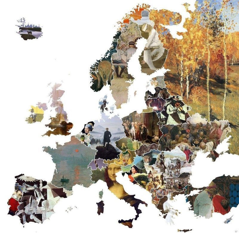 8. Карта Европы из знаковых произведений искусства каждой страны в мире, забавно, карта, карта мира, карты, креатив, подборка, фото