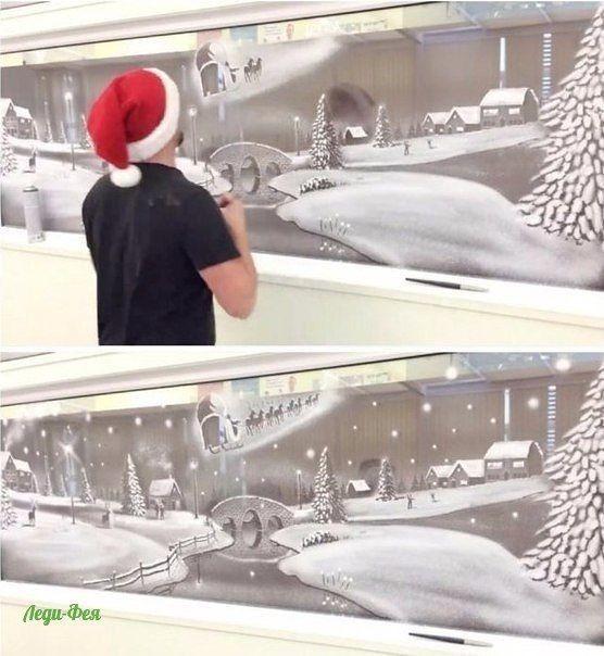 Художник, который вместо полотен использует окна, а вместо красок - баллончик с искусственным снегом