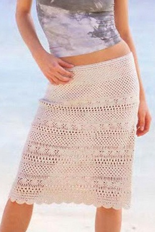 Меланжевая юбка крючком
