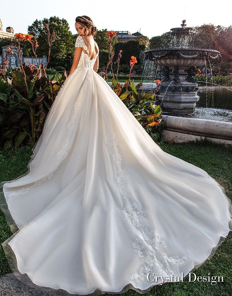 crystal design 2018 short sleeves sweetheart neckline heavily embellished bodice princess ivory ball gown wedding dress v back royal train (kaitleen) bv