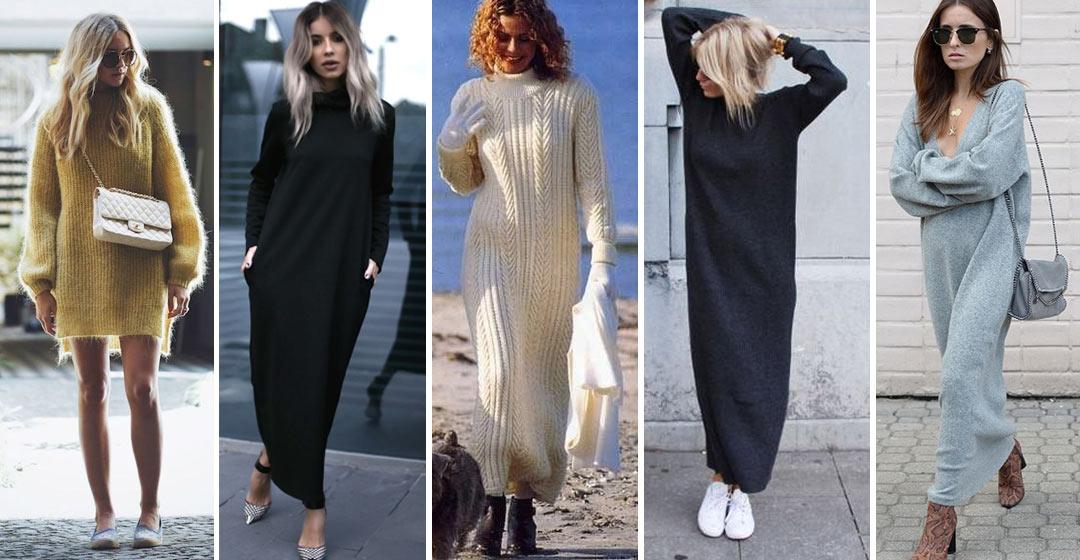 fac5623bac6 С чем носить вязаное платье  мини