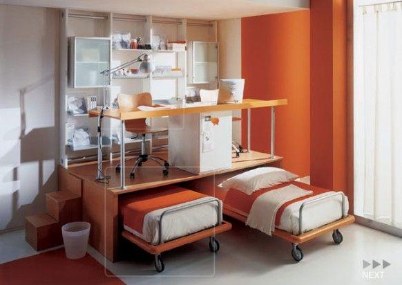 Эргономичная оранжевая детская комната