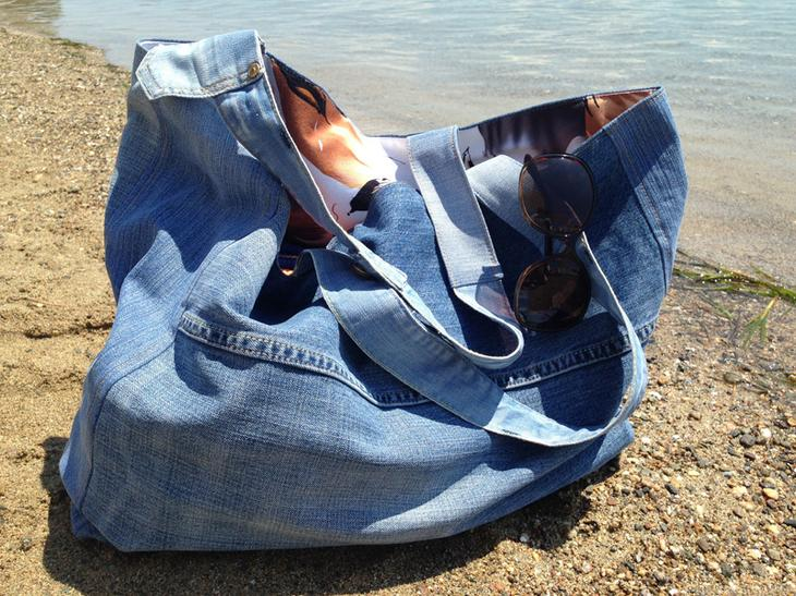 original Большая пляжная сумка из старых джинсов своими руками