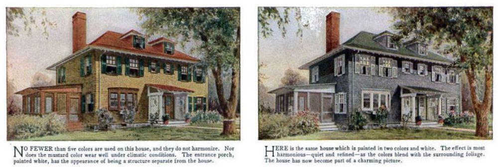 Неправильные и правильные цвета для дома по мнению журнала 1912 года дача,дизайн,дом,интересное,история,цвет