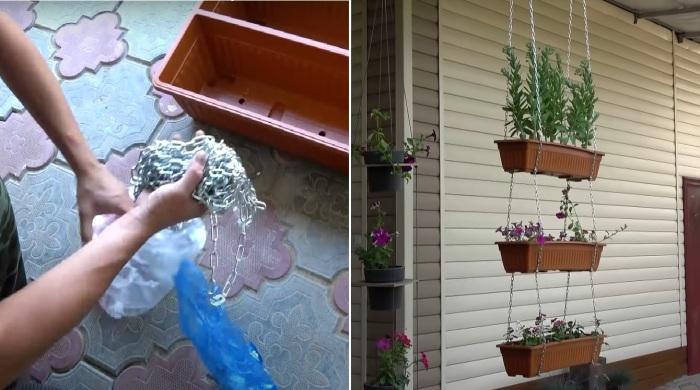 Быстрый способ сделать подвесной цветник: пригодится и на даче, и на балконе