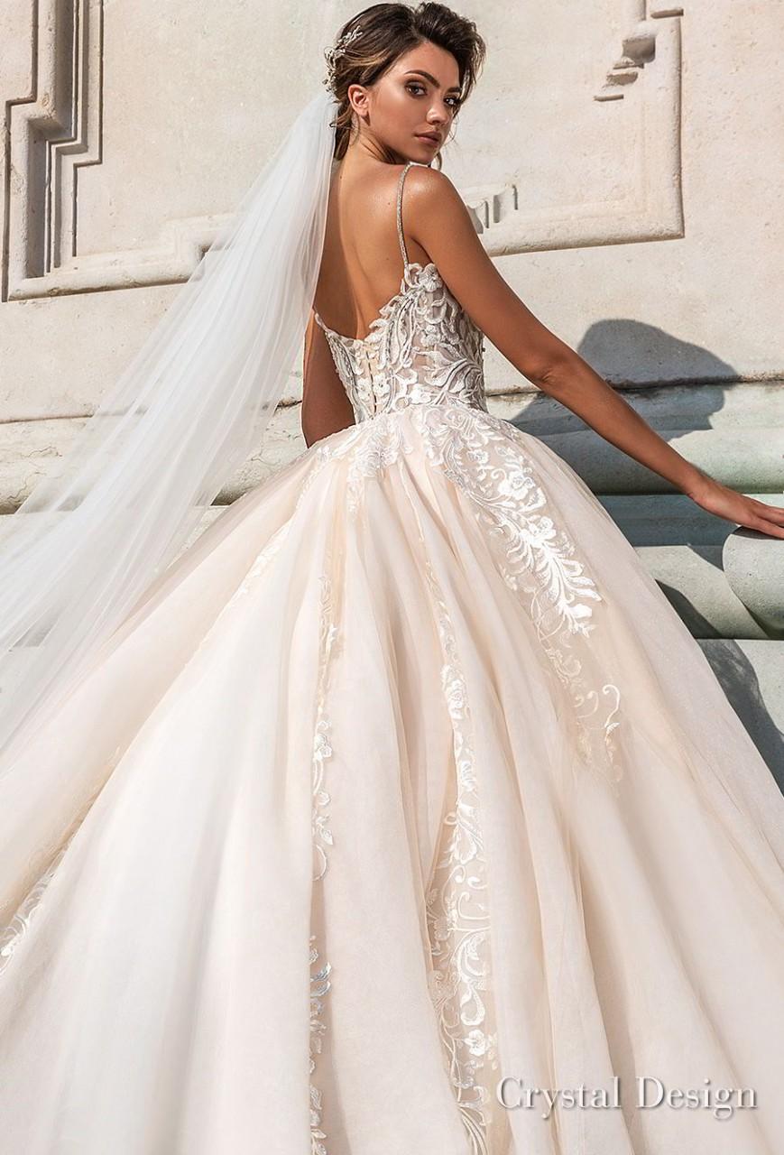 crystal design 2018 spaghetti strap sweetheart neckline heavily embellished bodice romantic ivory ball gown wedding dress chapel train (carol) zbv
