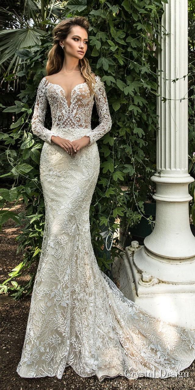 crystal design 2018 long sleeves deep sweetheart neckline full embellishment elegant fit and flare wedding dress sheer button back sweep train (steysi) mv