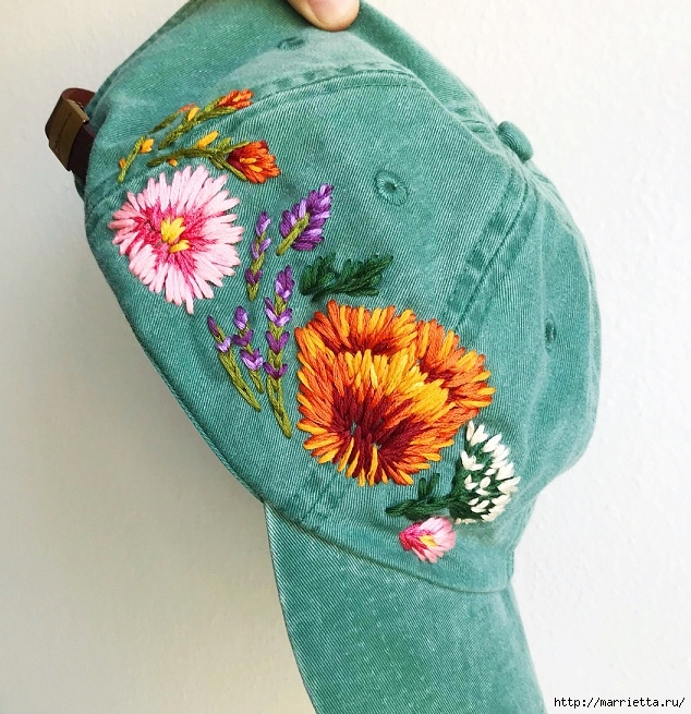 Вышивка на кепке. Идеи декорирования (5) (634x655, 324Kb)