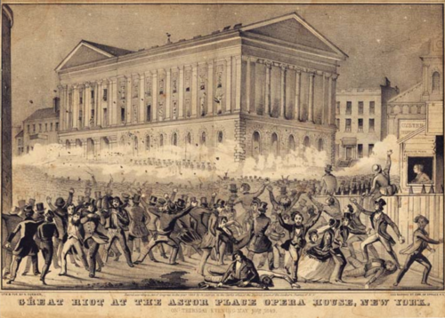 Регулярным войскам США  пришлось огнем усмирять театральных фанатиков.  Нью Йорк. 1849 год.