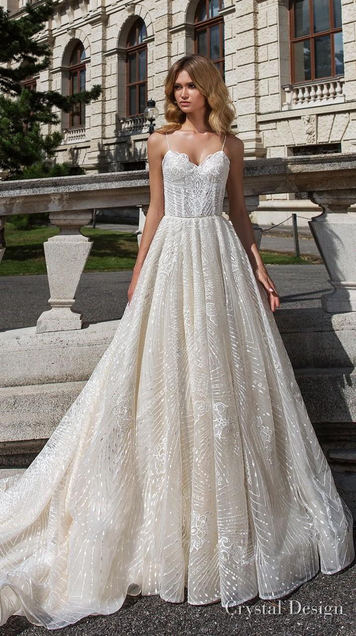 crystal design 2018 sleeveless spaghetti strap sweetheart neckline full embellishment romantic a line wedding dress open v back royal train (sofie) mv