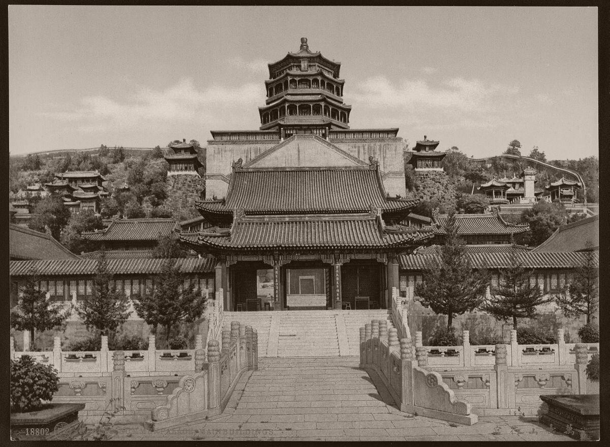 Ван-Шоу-Шань - летний дворец императоров в Пекине. Фото 1900 г.
